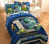 ディズニー モンスターズユニバーシティー マイクロファイバー薄掛けふとん×シーツ2枚×枕カバーセット【日本未発売・海外直輸入品】Disney Pixar Monsters University Microfiber Comforter Twin Sheet Set [並行輸入品]