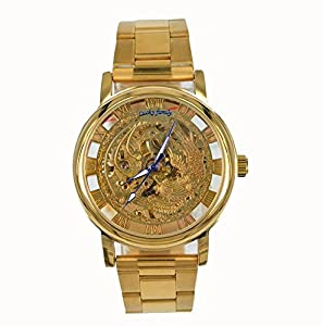Gift In Box Gold Phoenix Skeleton Dial Stainless Steel Strap Hand-Wind Mechanical Men's Watch G8111