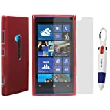 BIRUGEAR Red TPU Case Cover + Clear Screen Protector for Nokia Lumia 920 (AT&T) with * 4-Color Clip Pen *