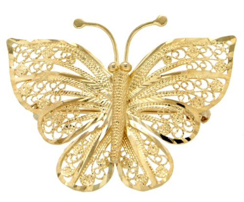 9ct Yellow Gold Filirgree Butterfly Brooch