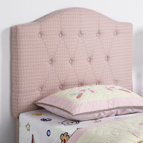Cheap Twin Size Kid Headboard with Button Tufted in Pink Patterned Fabric (VF_460303)