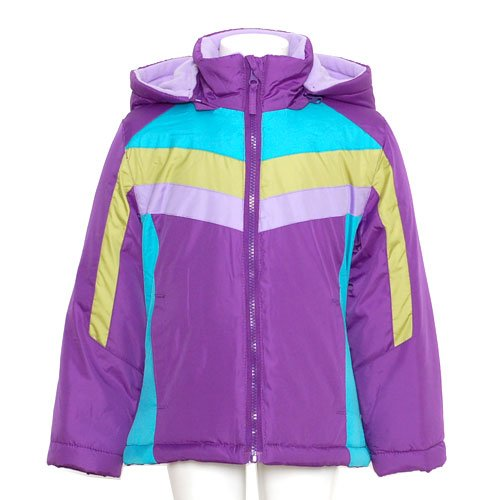Girls Purple Blue Green Puffer Zip Hood Winter