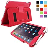 Snugg iPad Mini 3 Case - Smart Cover with Flip Stand & Lifetime Guarantee (Red Leather) for Apple iPad Mini 3 (2014)