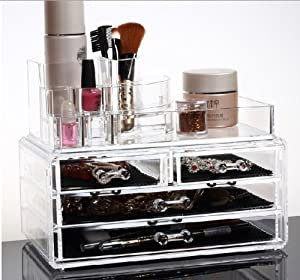 Acrylic Makeup Cosmetics Organizer Luxury Crystal Insert Holder Box