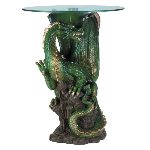 DRAGON SCULPTURE WITH ROUND GLASS TABLETOP 20
