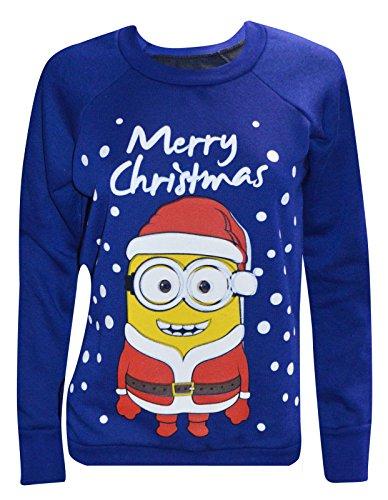 Womens Novelty Christmas Minion Print Sweatshirt Jumper (M/L (UK 12-14 EU 40-42 US 8-10), Royal Blue)