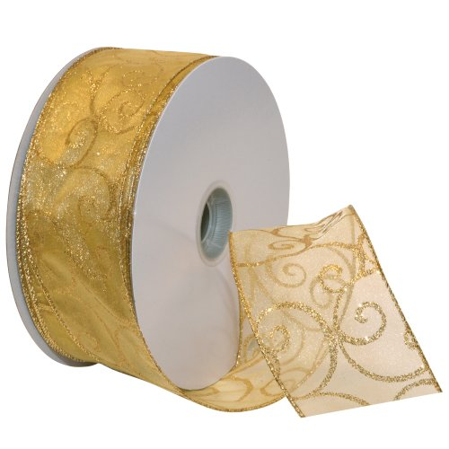 Best Price Morex Ribbon Swirl Wired Sheer Glitter Ribbon, 2-1/2-Inch by 50-Yard Spool, Gold