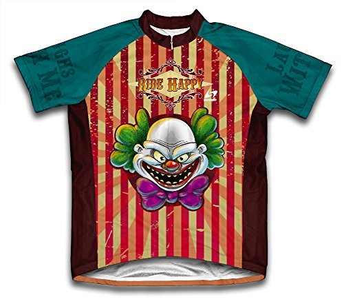 Happy Clown Ride Short Sleeve Cycling Jersey for Men