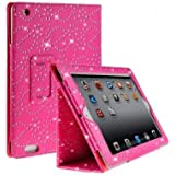 Diamond Bling Sparkly Gem Glitter Leather Flip Case Cover Pouch For Apple Ipad 2nd / 3rd / 4th Generation With Screen Guard & Stylus (Pink)