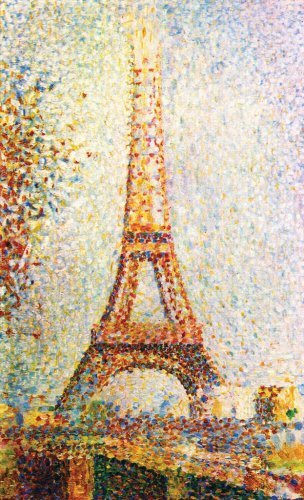 Artifact Puzzles - Whimsical Seurat Eiffel Tower Wooden Jigsaw Puzzle