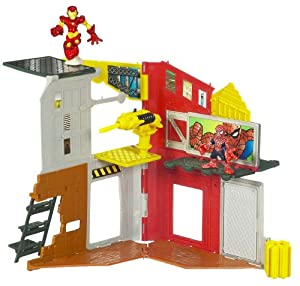 Marvel Super Hero Squad Mini Playset - Superhero City Spidey & Iron Man