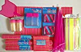 Pink Tiki Party Bamboo Table Set - Placemats, Coasters, Salt & Pepper Shakers, Food Net, Toothpicks & Holders, Fly Swatter, & Table Cloth Clamps