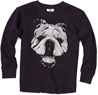 Wes and Willy Big Boys' Bulldog Thermal Tee, Navy, Large