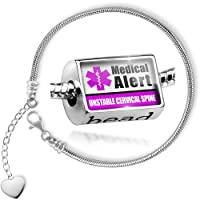Charm Set Medical Alert Purple UNSTABLE Cervical Spine - Bead comes with Bracelet , Neonblond from NEONBLOND