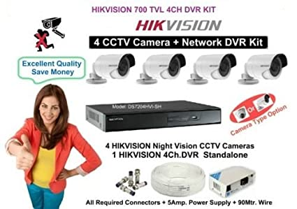 Hikvision DS-7204 HVI-SH 4Channel DVR + 4 (700TVL) CCTV Cameras (With 1 Power Supply, Cable, Connectors)