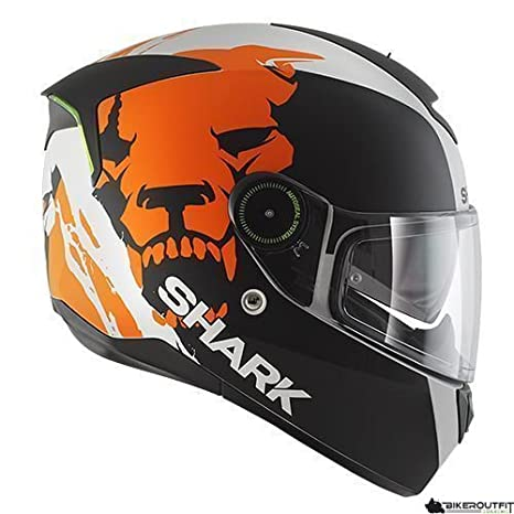 SHARK sKWAL iNSTINCT mAT éclairage lED intégral ! blanc orange de bikerWorld noir mAT