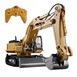 RC Excavator Remote Control Crawler Tractor with Metal Shovel, 11 Channel 2.4G Full Function Construction Engineering Vehicle Electronic Hobby Toys with Simulation Sound and Flashing Light