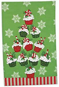 Holiday cupcakes tea towel candy canes joy Kay dee designs kitchen towels