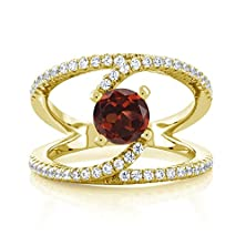 buy 1.58 Ct Round Red Garnet 18K Yellow Gold Plated Silver Ring