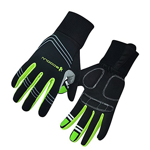 Ezyoutdoor Full Finger Breathable Cycling Gloves with Shock-absorbing Gel Pad for Bicycle Riding Skiing (Green, M)
