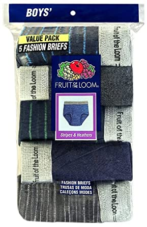 Fruit of the Loom Big Boys' Assorted Fashion Brief 5-Pack,Multi,L (14-16)
