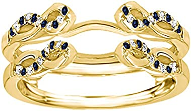 14k Gold Infinity Criss Cross Ring Guard with Diamonds and Sapphire 032 ct twt