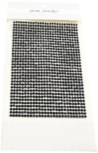 Kel-Toy Round Rhinestone Stickers, 3mm, 837 Pieces Per Sheet, Black (Round Gem Stickers compare prices)