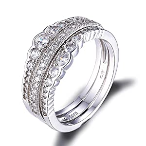 Jewelrypalace Wedding Anniversary Engagement Bridal Set 925 Sterling Silver Cubic Zirconia Ring