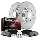 Power Stop K1043 Front Ceramic Brake Pad and Cross Drilled/Slotted Combo Rotor One-Click Brake Kit