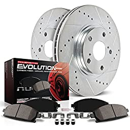 Power Stop K285 Front Ceramic Brake Pad and Cross Drilled/Slotted Combo Rotor One-Click Brake Kit