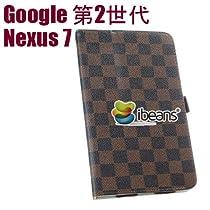 i-Beans(TM) 超豪華セット Google 第2世代 新型Nexus 7 2013年度版専用 高級スタンドケース 格子、チェック柄 自動ON/OFF機能付 新型 nexus 7 合成皮革レザーケース ブラウン カード入れ+ペン挿し付き PU Leather Case for The New Nexus 7 高品質光沢液晶保護フィルム+タッチペン(両用タイプ)付属【全3色】(5530-2)