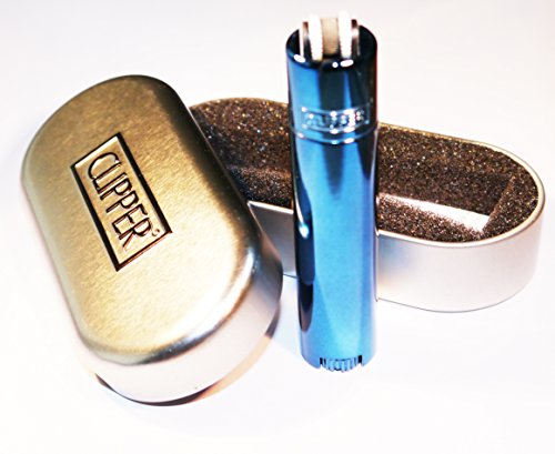 GENUINE BLUE TURQUOISE METALLIC METAL CLIPPER LIGHTER CHROME CASE TIN