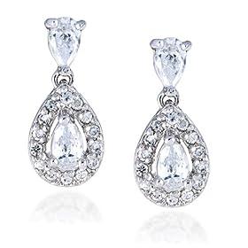 Sterling Silver Cubic Zirconia Pear-Shaped Drop Earrings by Cheline