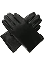 Luxury Lane Men's Classic Cashmere Lined Lambskin Leather Gloves