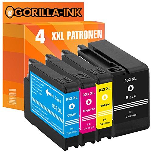 Sparset 4 Tintenpatronen XXL ersetzt HP 932 XL 933 XL Officejet 6600 E 7110 E AIO 7612 WF