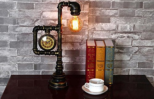 Injuicy Lighting Vintage Industrial Water Pipe Table Light Edison Desk Accent Lamp With Clock Bar 4