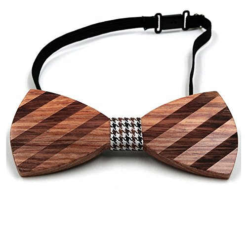 WRISTCHIE Men's Fashion Original Wood Color Pre Tie Wooden Bowtie Creative Present Tuxedo Necktie (Style1) (Creative Bow Ties compare prices)
