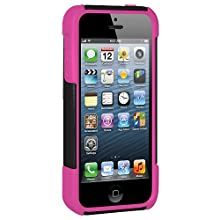 Amzer 95435 Double Layer Hybrid Case With Kickstand - Hot Pink/ Black For IPhone 5