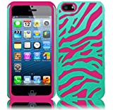 For Apple Iphone 5 5G 6th Gen Accessory Zebra PC Silicone Hybrid Cover Case Blue/Hot Pink