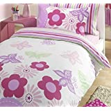 GIRLS REVERSIBLE DOUBLE DUVET QUILT COVER BEDDING SET PINK LILAC SUNNY DAYS NEW