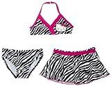 Hello Kitty Little Girls'  3 Pc Swimwear Set, (Halter, Bikini Bottom, Skirt), Zebra Print, 6x
