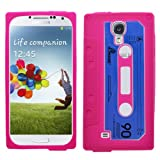 Samrick Retro Vintage Cassette Tape Hydro Silicone Protective Case, Screen Protector, Microfibre Cloth, Blue High Capacitive Mini Stylus Pen for Samsung i9500 Galaxy S4 IV, i9505 Galaxy S4 IV, i9505G Galaxy S4 Google Play Edition - Pink