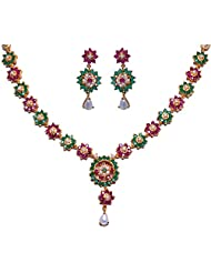 Gehna Pearl Ruby & Emerald Stone Studded Flower Style Necklace & Earrings Set