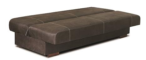 Polstermöbel Abele in dunkelbraun mit Bettfunktion und Staukasten– Abmessungen: 203 x 91 cm (L x B)