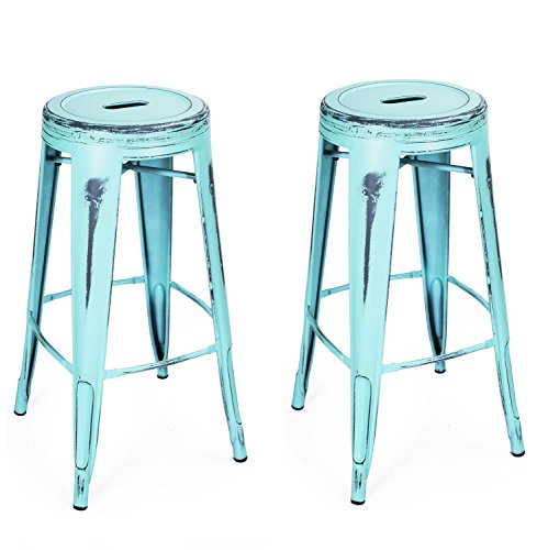 Adeco 30-inch Metal Stools, Vintage Barstool, Antique Light Blue, set of 2 0