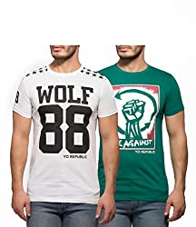 Yo Republic Mens Cotton Tshirt Combo Offer (Pack of 2)(AT-0046-1XL_White_Green_X-Large)