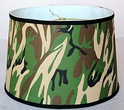 "15""W Camouflage Camo Drum Lamp Shade Green, Black, Brown, Tan Hardback Lampshade Table Floor"