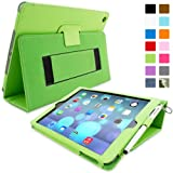 Snugg iPad Air (iPad 5) Case in Green Leather - Flip Cover and Stand with Automatic Wake / Sleep, Elastic Hand Strap & Soft Premium Nubuck Fibre Interior to Protect Apple iPad Air (iPad 5) - Includes Lifetime Guarantee