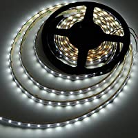 LEDwholesalers 16.4 Feet 300xSMD3528 LED Flexible Strip with Waterproof Sleeve LED Ribbon 5 Meter Reel 12 Volt, White, 2047WH