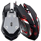 TOOPOOT 3500 DPI 6 Button Optical Custom Macros USB Wired Steel Gaming Mouse-black
